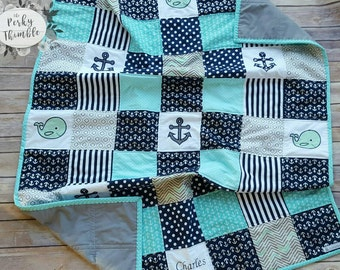 Embroidered Nautical Crib Quilt, Blue Cotton baby quilt, Nautical crib bedding, Monogrammed baby quilt, Whale baby quilt, Blue anchors quilt