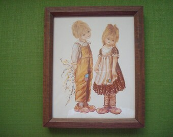 VIntage 1974 Donald Art Company Little Boy and Girl Framed Wall Hanging