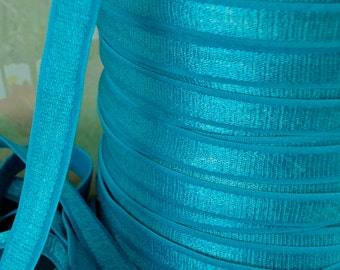 "3yds Elastic Satin Shiny Blue Turquoise 1/2"" inch diy Headbands bra strap sewing trim elastic by the 3 yard"