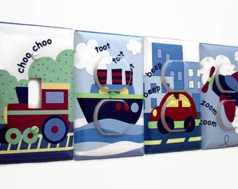 Transportation Nursery Decor - Train Light Switch Cover - Plane Car Boat Outlet Covers - Baby Shower Gift - Boys Travel Baby Room