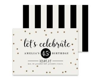 Printable Birthday Invitation | Celebration | Printable DIY Invite, Affordable Invitation, Digital Invite, Adult Invite, Glitter, Stripes