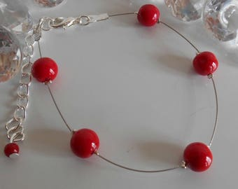 Simplicity wedding bracelet red passion pearls