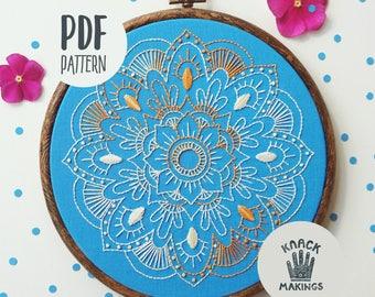MANDALA - PDF Embroidery Pattern, Beginner Embroidery Hoop Art, Embroidery Design, DIY by Mr Knack