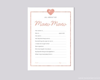 Printable All About My Maw Maw Instant Download, Mother's Day Questionnaire, Grandparent's Day Gift,  Pink Blank card Grandkids & kids