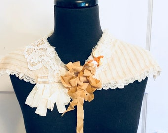 textile fabric ivory collar from vintage and antique lace and ribbons