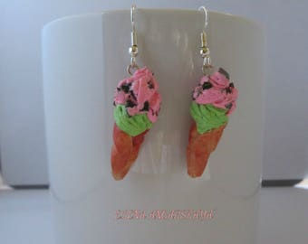Chocolate Chip Ice Cream Cone Earrings, Polymer Clay Earrings, Dangle Earrings, Miniature Food Jewelry