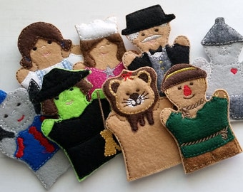 Wizard of Oz Puppet Sets *For purchase as a SET or INDIVIDUALLY* Adult hand, Child hand, or Finger Puppet