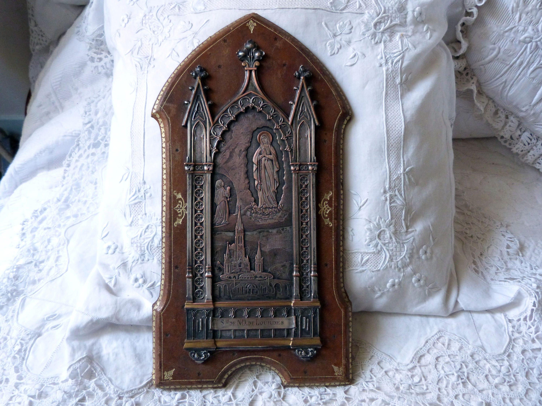 Antike französische religiösen Rahmen Silber Symbol Relikt b