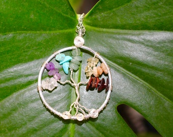 Chakra Tree of Life/ Chakra Jewelry/ Wire Wrap Tree of Life/ Crystal Healing Pendant