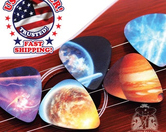 10 Galaxy Solar System Guitar Picks Double Sided ASSORTED DESIGNS--Create Your Own Guitar Pick Project--DIY Guitar Picks
