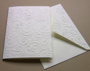 Set of 6 Hand Embossed Flourish Ivory Note Cards, Wedding Thank You cards, Blank, and Matching Flourish Envelopes, Elegant