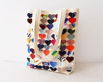 Colorful multi coloured canvas tote shopper bag beach bag beige rainbow hearts vegan