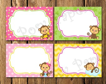 Printable Monkey Baby Girl Baby Shower Food Labels - Instant Download