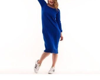 Knit Dress, Knitted Dress, Blue knit Dress - VAJU hand Made