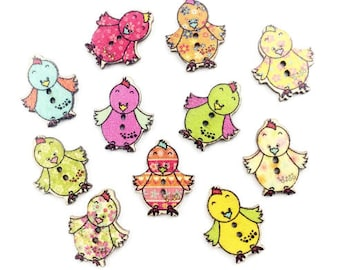 Set of 5 colorful chicks wooden buttons