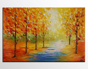 Abstract Art, Canvas Art, Large Oil Painting, Autumn Tree Painting, Abstract Painting, Large Wall Art, Canvas Painting, Landscape Painting