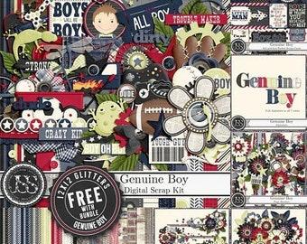 On Sale 50% Off Genuine Boy 12x12 Digital Scrapbook Kit Bundle, Masculine
