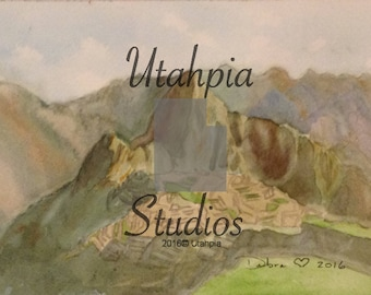 8x10 Giclee Print from watercolor painting South America Peru Machu Picchu 15th century Lost City mountain citadel Inca face Pachacuti