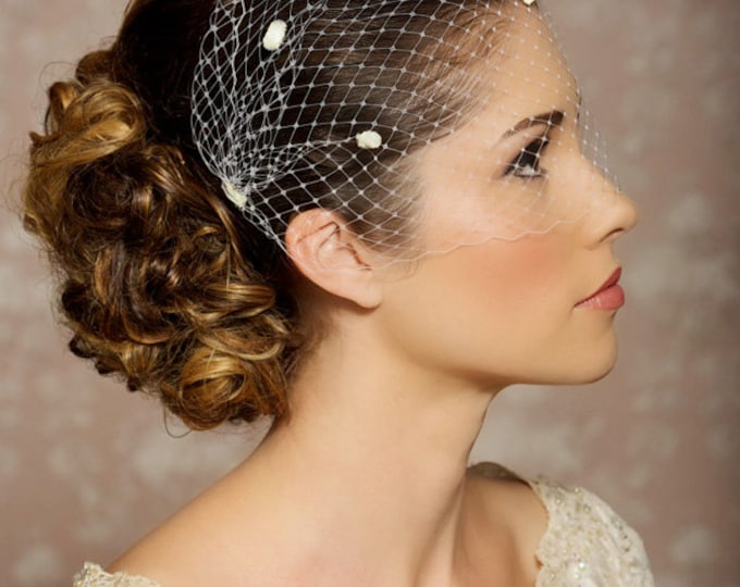 """Ivory Dotted Veil, Birdcage Veil, Chenille Polka Dots, Bandeau Birdcage Veil, Bridal Veil - 9"""", Dotted veil available in white, ivory"""