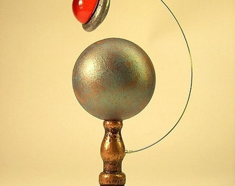 Blue Planet on Copper Metallic Table Top Stand with Dangling RED Alien UFO Flying Saucer
