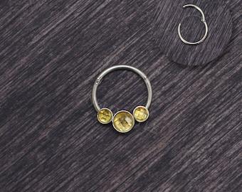 CZ Septum Ring - Septum piercing, daith earring