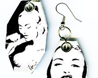 Madonna Vogue - Black and White -hand-painted silver earrings