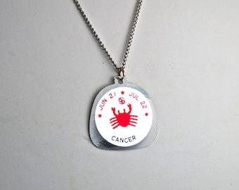 Cancer Horoscope Vintage Horoscope Necklace Horoscope 1960's Horoscope Pendant The Crab
