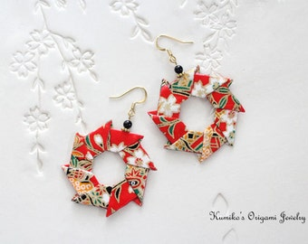 Japanese Origami Jewelry - Origami Wreath Earrings with Surgical Steel Hooks No.03136