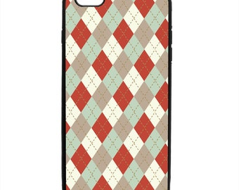 Rustic Christmas Argyle Holiday Print Phone Case Samsung Galaxy S5 S6 S7 S8 S9 Note Edge iPhone 4 4S 5 5S 5C 6 6S 7 7S 8 8S X SE Plus
