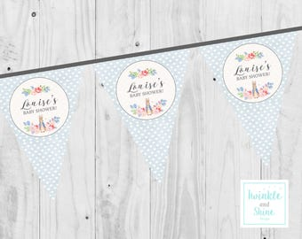PERSONALISED Baby Shower Peter Rabbit, Boy, Girl, Neutral, Bunting, Printable, Banner, Decoration, Digital Download.