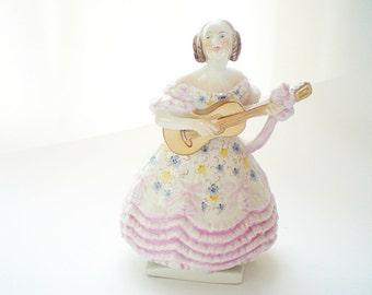 Herend Figurine Mrs Dery Lady & Guitar  Hungarian Porcelain Figurine