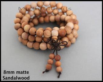 SAMPLE 5 Beads 8mm SANDALWOOD Mala Beads - Round Natural MATTE Golden Fragrant Prayer Yoga Meditation Beaded for Stretch Necklace Bracelet
