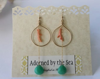 14kt Gold Filled Drop Earrings with Natural Pink Coral and Turquoise Chalcedony Dangle