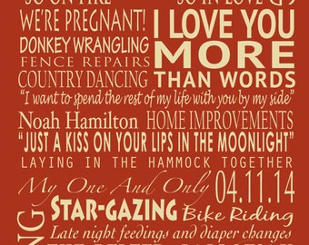 Personalized Canvas, Your words on Canvas, Any Size, Personalized Word Art, Mother's Day or Father's Day, Housewarming or Farewell Gift