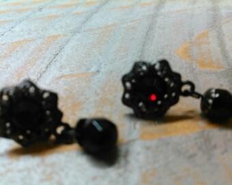 Bohemian Garnet drop earrings gold washed stud earrings