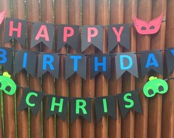 PJ masks birthday banner with name!
