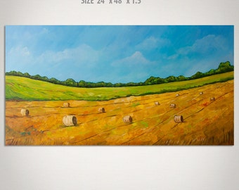 Landscape Painting - Abstract Landscape Painting Wheat Field Hay Bales Acrylic Textured Large Panoramic Landscape Canvas Wall Art