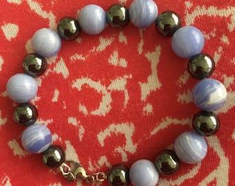 Hematite and Blue Lace Agate Bracelet