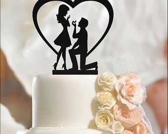 Fiance & Fiancee Cake Toppers Heart and Ring Engagement high quality acrylic, Bride and Groom, Silhouette Cake Topper