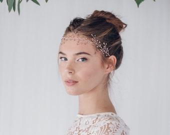 Rose gold bridal hair vine, rose gold wedding hair vine, rustic twig woodland hair vine, Rose gold or Silver bridal hairvine - Rosemary