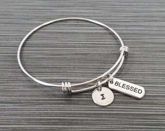 Blessed Bangle Bracelet - Blessed Charm Bracelet - Adjustable Bracelet Bangle - Blessed Bracelet - Initial Bracelet - Inspirational Jewelry