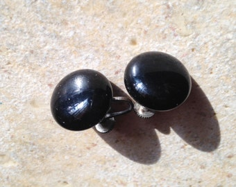 Black Glass Dot Button Earrings
