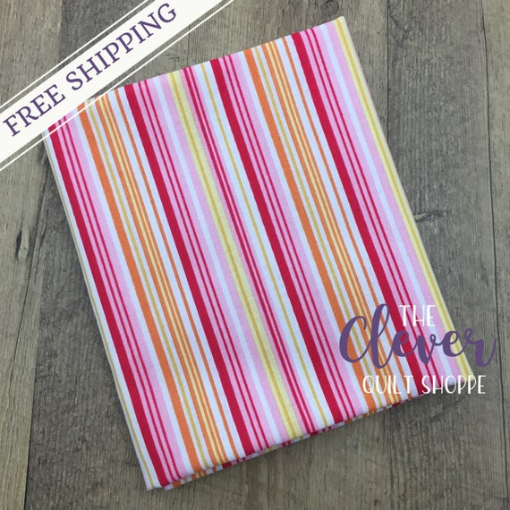 SALE! Quilting Fabric, Stripe Pink, Fine & Dandy, Lori Whitlock, Riley Blake Designs, Yardage, Yellow, Pink, Basics, White, Orange, Girl