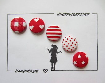 5 fabric buttons 23 mm, buttons, children buttons, buttons, buttons, Fabric button, fabric buttons, knob, buttons, sewing button, craft button, red-white