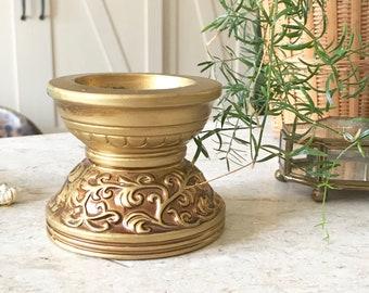 Vintage Ornate Gold Pillar Candleholder / Hollywood Regency  / Bohemian Decor
