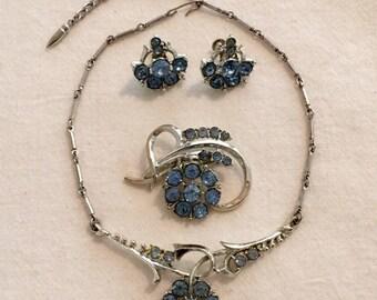 Vintage Coro Blue Rhinestone Jewelry Set