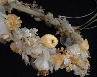 WEDDING Flower Headpiece Wreath CROWN Bridal HAIR Accessory Gold Accents