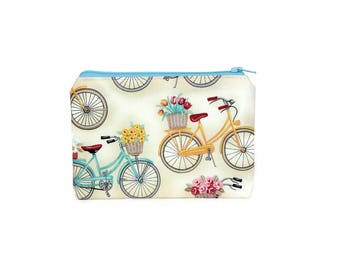 CHOOSE SIZE Vintage Bicycles Zipper Pouch / Retro Bikes Camera Bag on Cream / Make Up or Coin Pouch