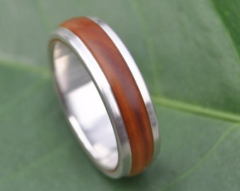 Size 8 READY TO SHIP Tierra Guapinol Wood Ring - handmade wood wedding band with recycled sterling silver, wood wedding ring