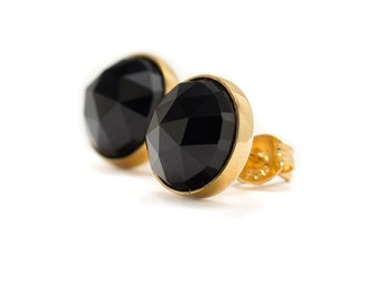 Black Spinel Stud Earrings - 24k Gold Vermeil Stud Earrings - Round 10mm - Bezel Set Stud Earrings - Rose Cut Black Spinel